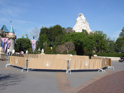A little TLC is being given to the star in front of the castle