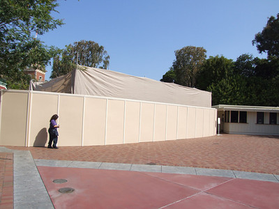 The east Disneyland Turnstiles are getting repainted