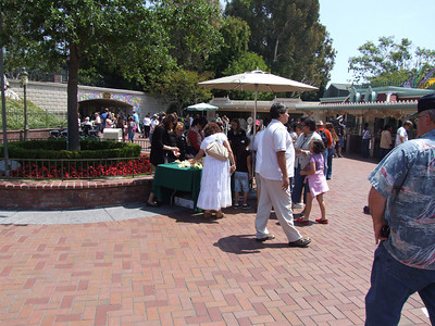 Happy Mother's Day, and flowers were handed out to the Mothers entering Disneyland today.