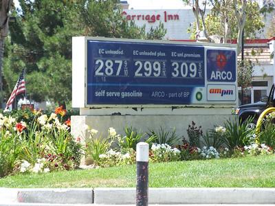 Gas prices on Harbor Blvd, south of Katella
