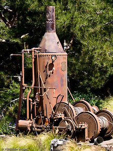 Old steam engine in the Grizzly Run Rapids ride.