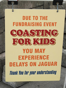 This sign was placed to warn park guests that every other train would be reserved for the GKTW event.