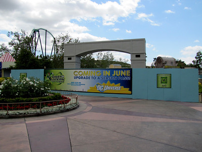 "The former Gotham City area, being rethemed to ""DC Universe"".  The Batman Roller Coaster is closed, and they are rethemeing two rides.  The former Grinder Gearworks will be known as ""Wonder Woman's Golden Lasso, and the ATOM Smasher wil become ""The Flash"""