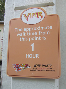 New Wait Signs, of course plugging the Flash Pass, which is now $20 for 4 rides, or $25 on weekends and holidays.