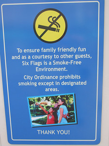 But Six Flags has set up a smoking section next to each restroom, which is a good compromise to keep smoking to just a few locations.