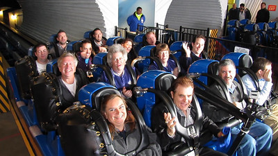 American coaster Enthusiast enjoy a VERY early morning ride as part of a KTTV, Channle 11 in Los Angeles news event