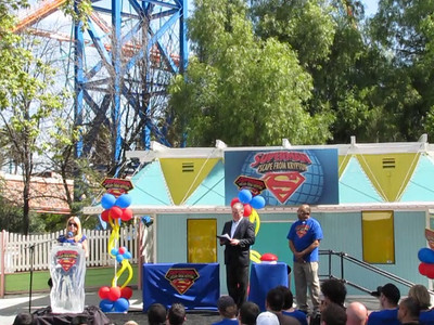 The President of Six Flags Magic Mountain, Bonnie Rabjohn comments at the Press Event for Superman: Escape from Krypton