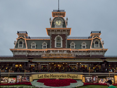 Main Street Station at the Magic Kingdom in the early morning.  Our behind the scenes tour of the railroad began at 0700.