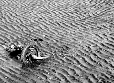 Bike, bicycle, beach, sand, tide, tides, forgotten, stolen, left behind, kids bike, beach, water, buried