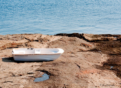 maine, nubble light, rocks, boat, row boat, white, lost, left behind, long sands beach