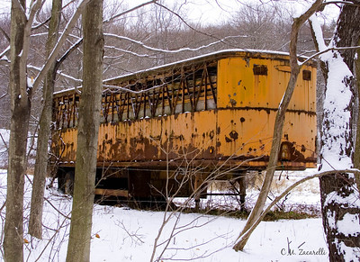trailer, trucking, old, lost, abandoned, snow, winter, rusty
