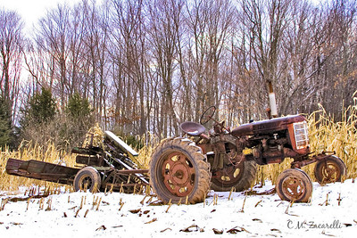 tractor, old, old tractor, farm, farming, farm equipment, snow, field, corn field,