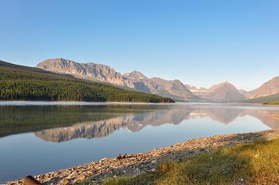 Reflective mountains in Glacier National Park, Montana, USA