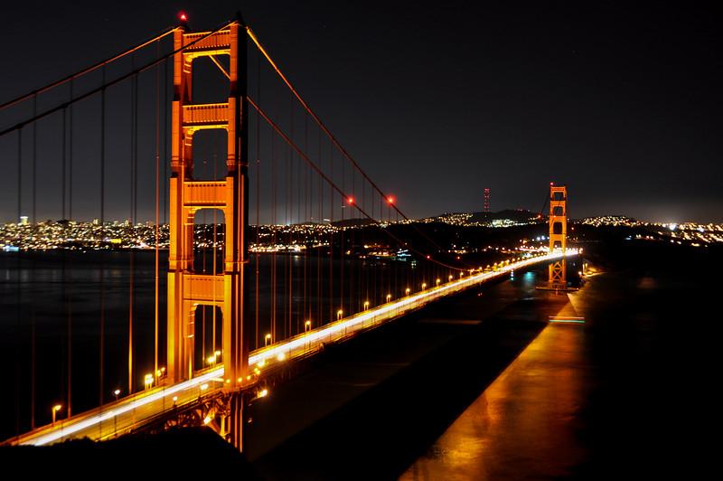 Golden Gate Bridge by night, San Francisco, USA