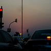 Stop lights and sunset