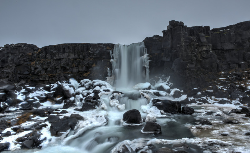 Oxarafoss Waterfall, Winter, Iceland