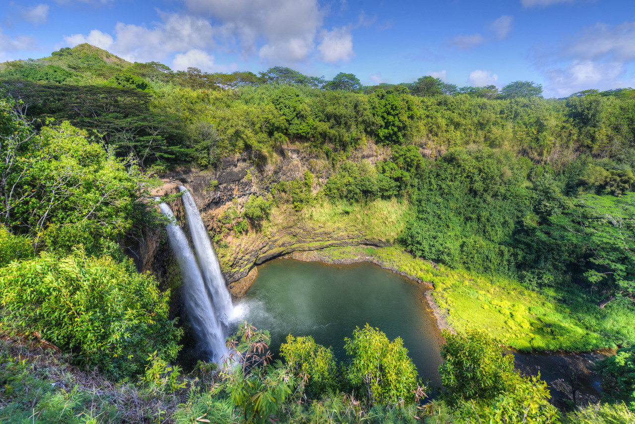 Wailua Falls Hawaiian Waterfall