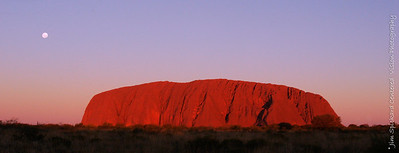 Uluru at Sunset with Full Moon