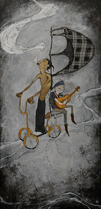 Smoke and Guitars 2011 Mixed Media on Wood Sold  Willie & Snoop Show R&R Gallery, Los Angeles CA