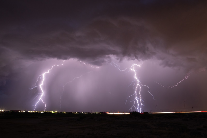 Lightning over Santa Teresa, New Mexico,