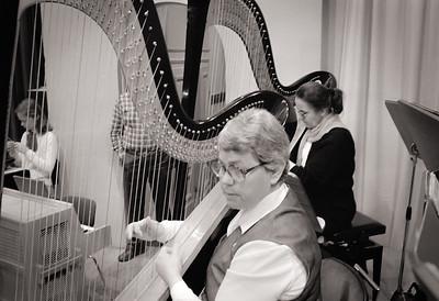 Ingrid Lindgren, piano/celesta, Anna Stångberg and Karin Langebo, harp
