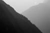 North Cascades, Cascade Pass - Two intersecting ridges, black and white