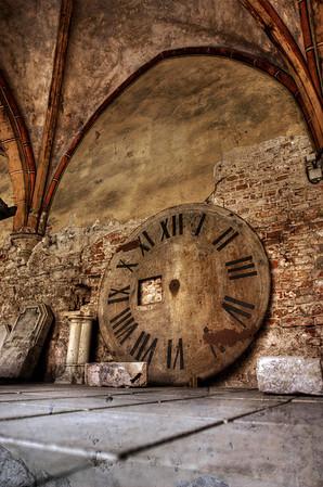 HDR: Old Clock Face under Riga Cathedral, Riga, Latvia.