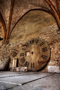 HDR: Old Clock Face under Riga Cathedral, Riga, Latvia.