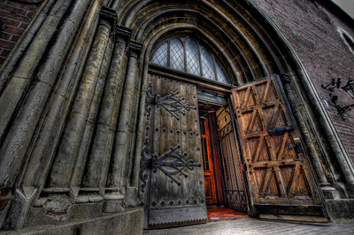 HDR: Entrance to the Riga Cathedral, Riga, Latvia.