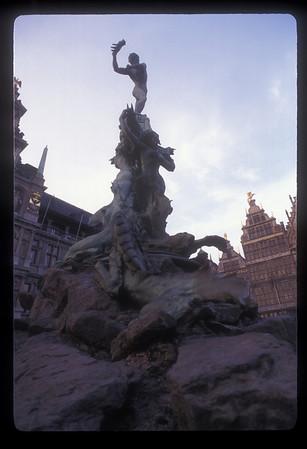 """Statue of """"hand toss,"""" Antwerp, Belgium."""