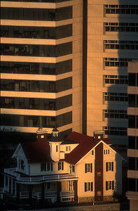 Old and New. Restored Home and Office Tower, Midtown Atlanta, USA.
