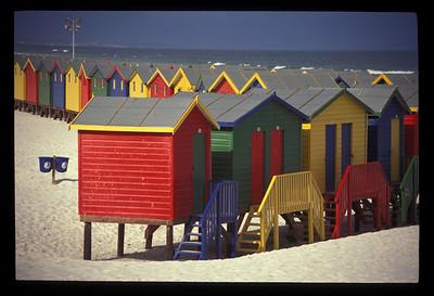 Bath houses, beach near Simon's Town, South Africa.