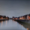 Panorama, the Liffey River at Dublin, Ireland.