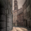 HDR: Mysterious street in old town Vilnius, Lithuania.