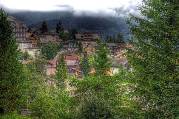 The Alpine village of Mürren, Switzerland, HDR.