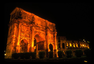 Constantine's arch and colosseum, Rome, Italy.