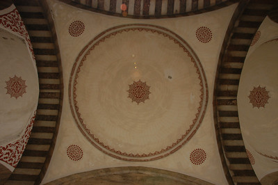Detail of ceiling of Blue Mosque, Istanbul, Turkey.