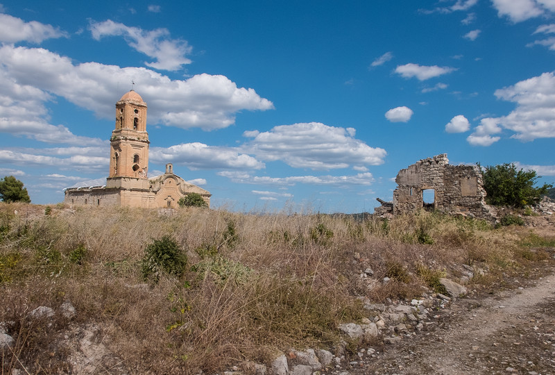 Bombed town from the Spanish Civil War, Corbera d'Ebre, Catalunya, Spain