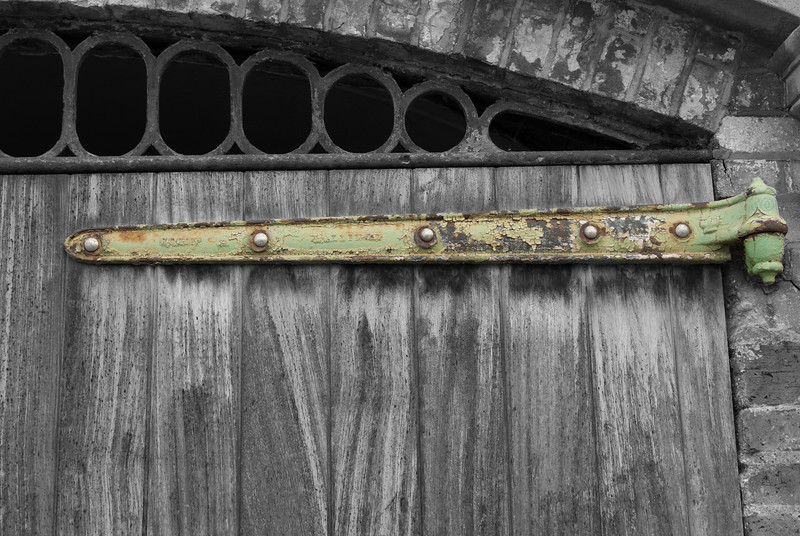 Door of an old boathouse by the Thames in Richmond