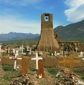 Taos Pueblo, NM - St. Jerome Chapel was  built in 1619 and destroyed in 1847 by the US Army during the War with Mexico .  St. Jerome is the patron saint of Taos Pueblo.