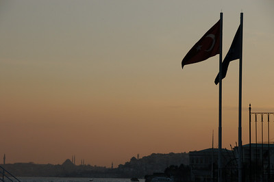 Sunset at Ortakoy district, looking south along the Bosphorus Strait, Istanbul, Turkey.