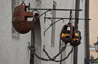Lamps in the medieval Old Town, Tallinn, Estonia.