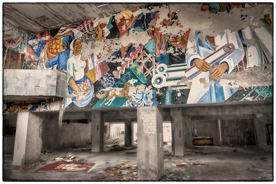 The lobby of the Palace of Culture, Pripyat, Ukraine, inside the 30-kilometer Chernobyl Exclusion Zone.