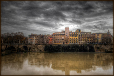 Apartment block on the Tiber River, Rome, in the style of an old painting - HDR. Compare to the drab original.