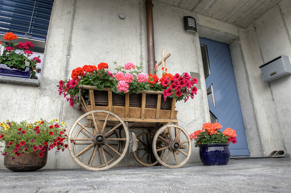 Flower box in the Alpine village of Mürren, Switzerland.