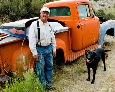 Eureka Nevada, John owns the town's junkyard.  He and his dog were very friendly.