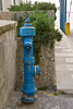 Blue hydrant; yellow box