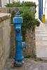 Blue hydrant; yellow box