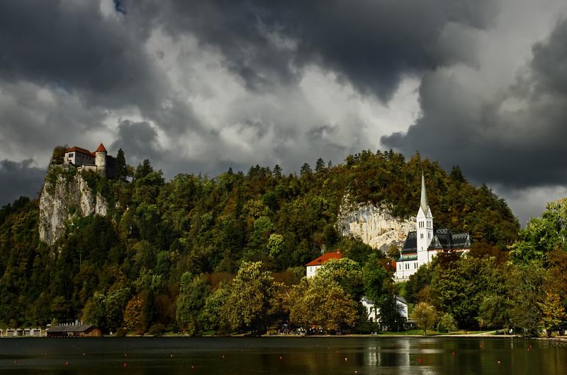 Church, Castle, Stormclouds
