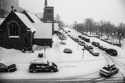 Ottawa;Winter;Church;Cars;Road;Snow